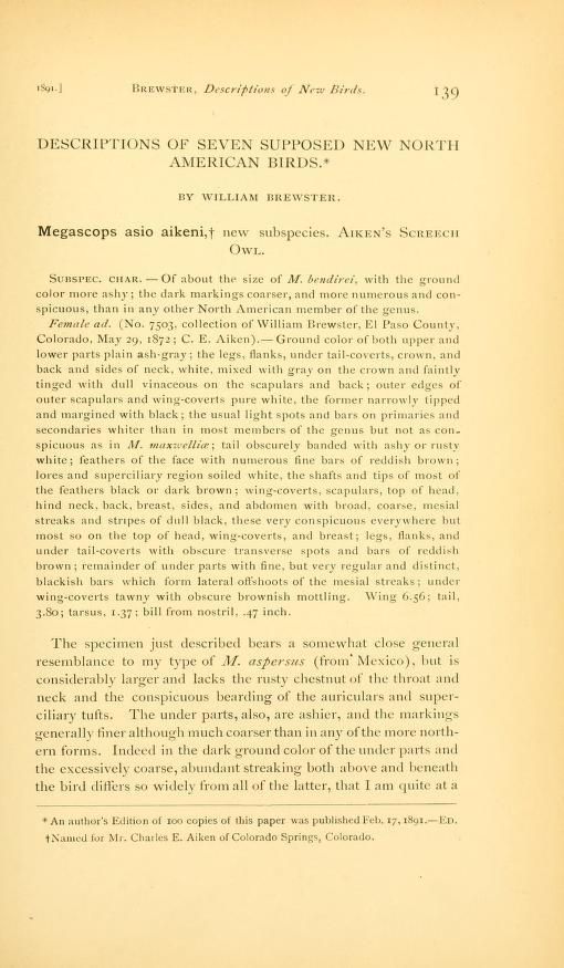 Descriptions of Seven Supposed New North American Birds